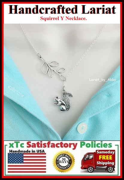 Beautiful Branch & Squirrel Handcrafted Necklace Lariat Style.