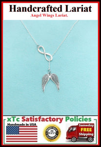 "Beautiful Angel Wings & Infinity Silver Charm ""Y"" Lariat Necklace."