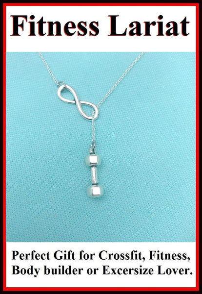Beautiful Handcraft Dumbbell Charms Lariat Necklace.