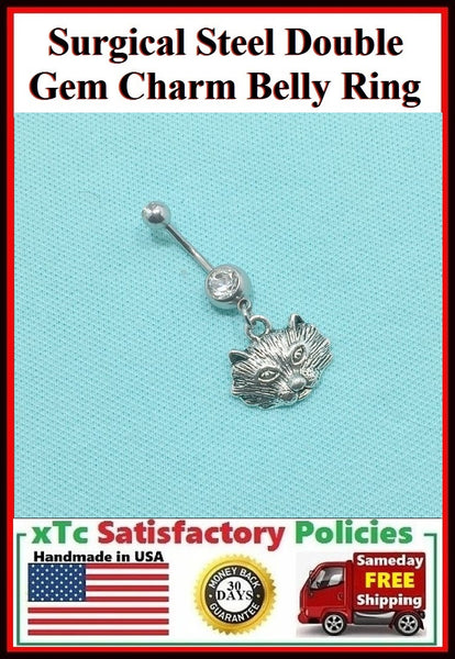 Surgical Steel Double Gems Belly Ring with Wolf Charm.
