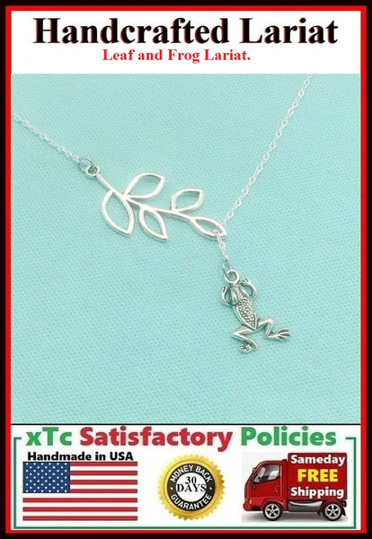 Gorgeous Leaf & Frog Necklace Lariat Style.
