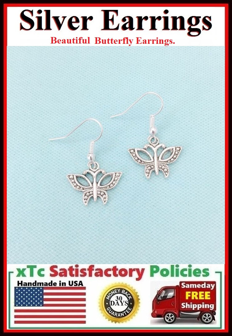 Beautiful BUTTERFLY Silver Dangle Earrings.