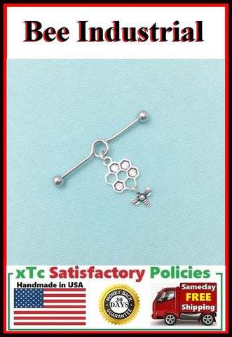 Gorgeous Bee & Hive Charm Surgical Steel Industrial.