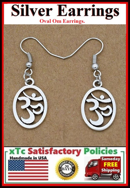 Beautiful Oval OM YOGA Silver Dangle Earrings.