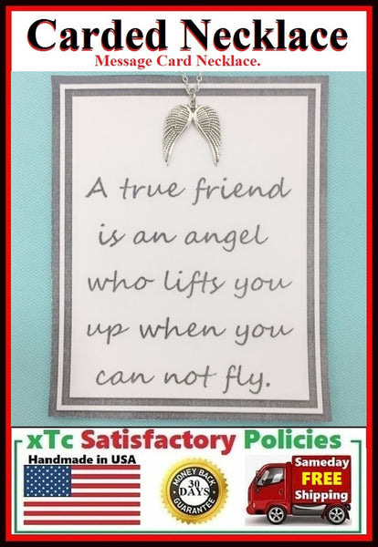 Motivational Gift; Handcrafted Silver Angel Wings Charm Necklace.
