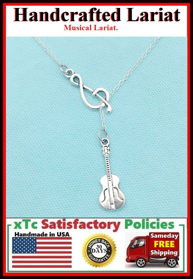 Treble Clef & Guitar Silver Handcrafted Necklace Lariat Style.