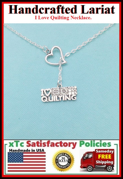 I Love Quilting Silver Charm Necklace Lariat Style.