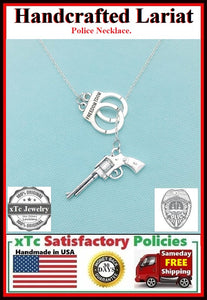 Handcuff and  Gun: Police man wife Silver Lariat Necklace.