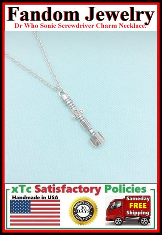 DR. Who Sonic Screwdriver Charm Silver Necklace.