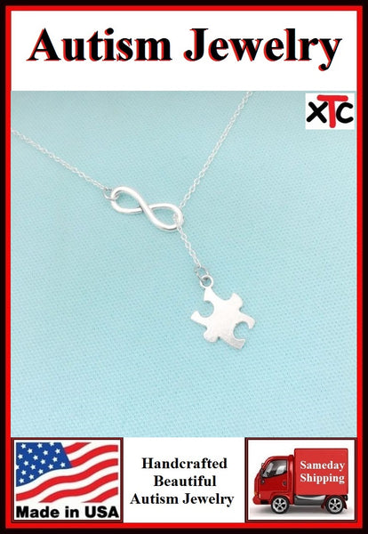AUTISM Awareness Solid Silver Puzzle Piece Charm Lariat Necklace.