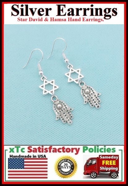 DIVINE PROTECTION HAMSA HAND & STAR Silver Charms Dangle ZEN Earrings.