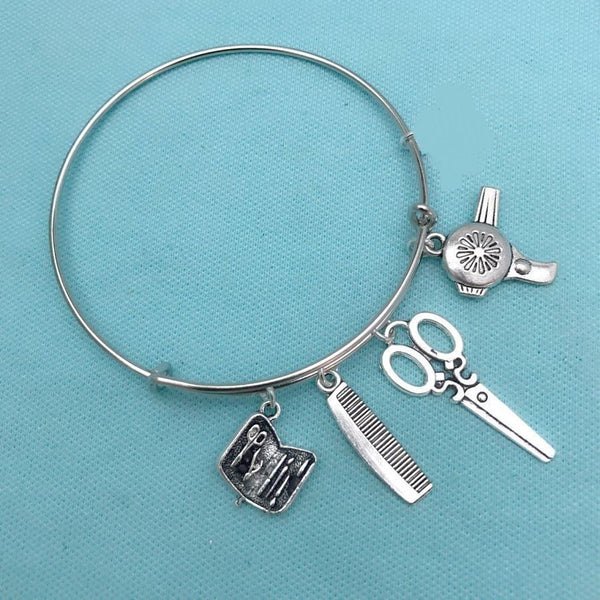 Beautician, Stylist and Manicurist expendable Charms Bangle.