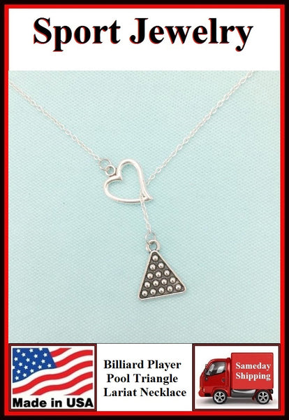 I Love BILLIARD (Pool Triangle) Necklace Lariat Style.