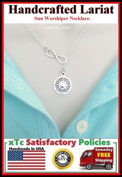 Bright Sun & Infinity Handcraft Necklace Lariat Style.