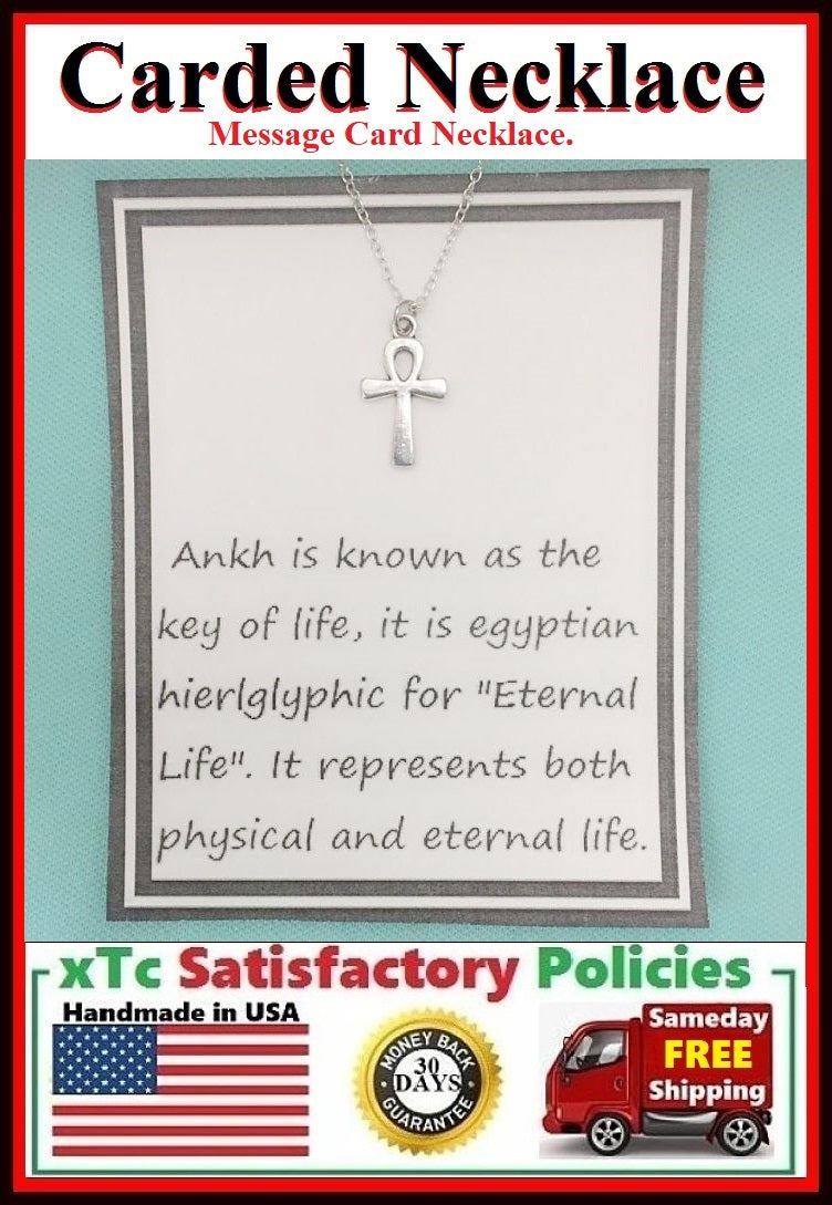 Eternal Life Gift; Handcrafted Silver Egyptian Ankh Charm Necklace.
