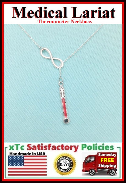 Thermometer Handcrafted Necklace Lariat Style. RN or DR.