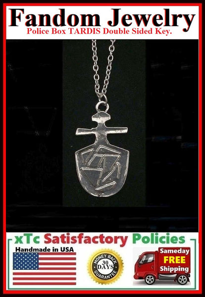Phone Box TARDIS Double Sided Key Silver Charm Necklace.