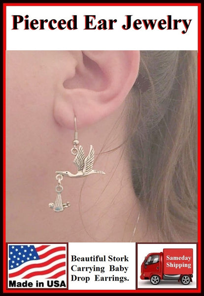 Beautiful STORK Carrying a BABY Silver Dangle Earrings.