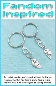Friendship Key Rings, Handcuff & Partner in Crime Herat Key Rings.