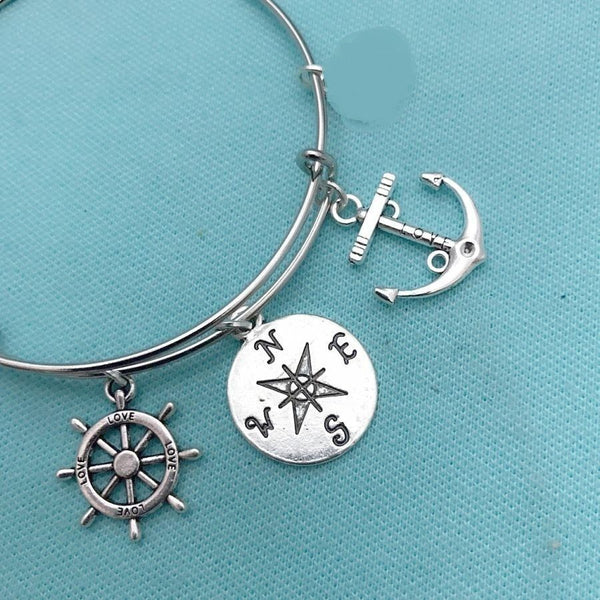 Beach, Sea Lovers Compass, Rudder & Anchor Charms Bangle.