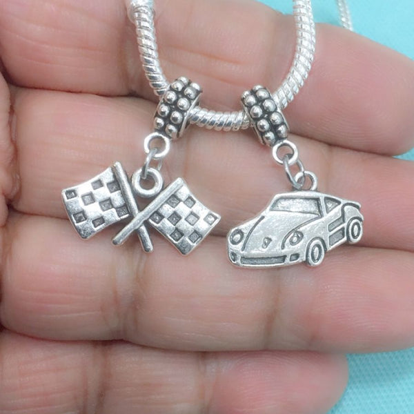 DAYTONA LOVERS : Race Car & Checker Flag Charms Fit Beaded Bracelet