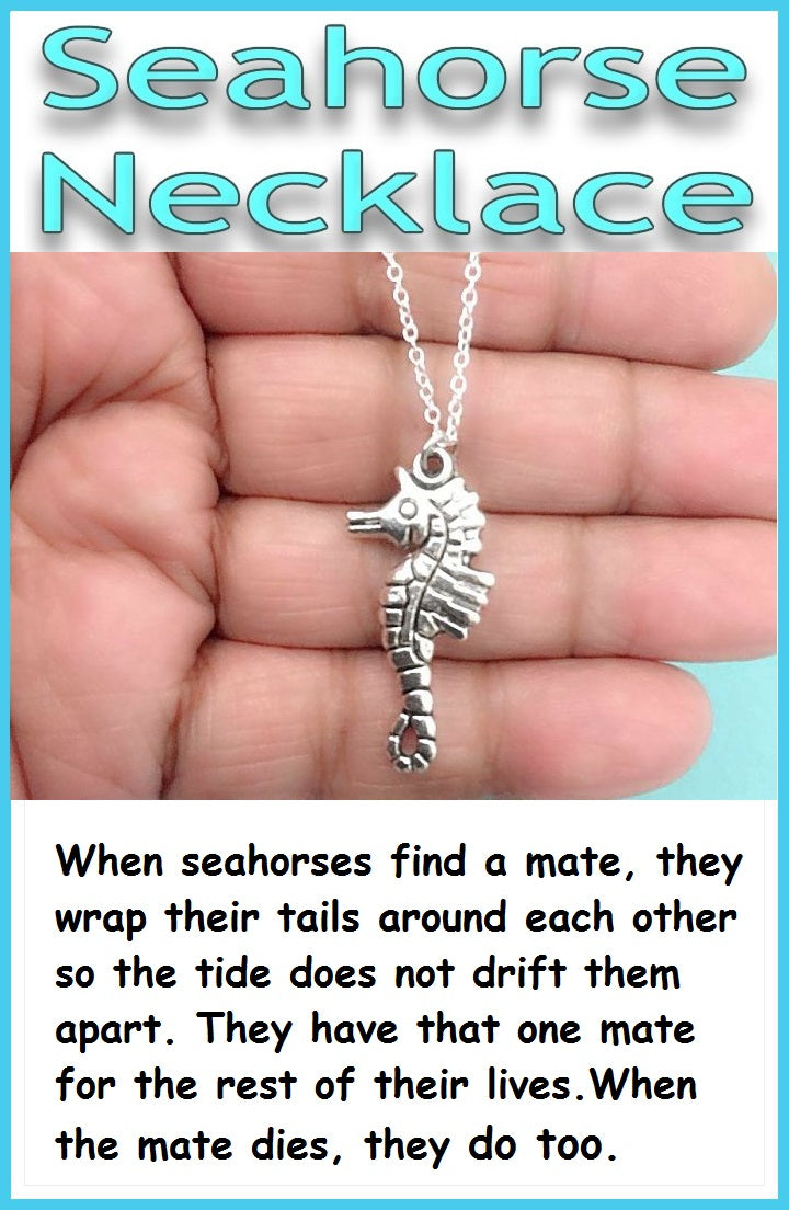 True Lover Gift; Handcrafted Silver Sea Horse Charm Necklace.