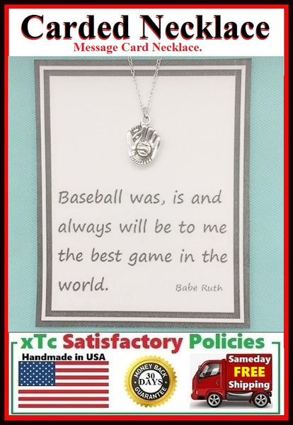 Baseball Gift; Handcrafted Silver Baseball Mitt Charm Necklace.