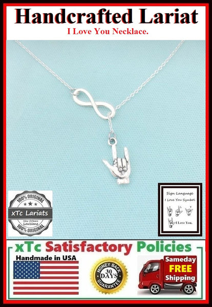 "Sign Language ""I LOVE YOU""  Charm Lariat Necklace."