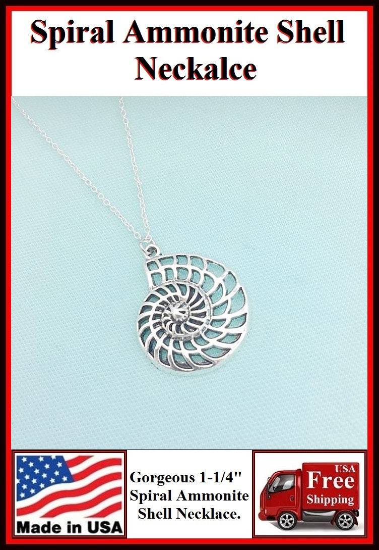 "Stunning 1-1/4"" Silver SPIRAL SHELL Charm Necklaces."