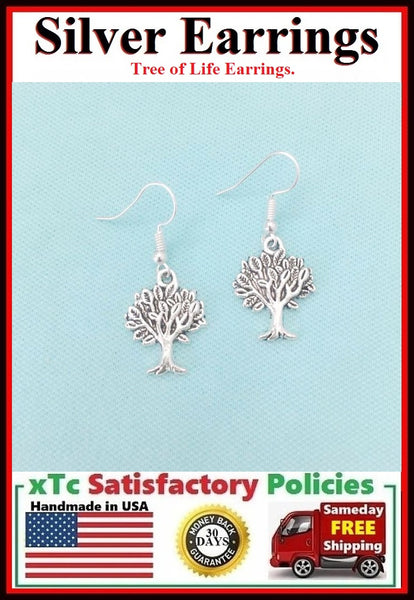 Beautiful Detailed TREE OF LIFE Silver Dangle Earrings.