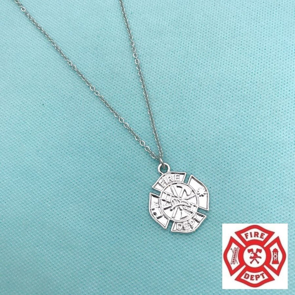 Firefighter Symbol Charm Silver Chain Necklace.