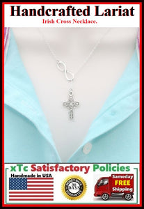 Gorgeous Irish Cross Lariat Style Necklace.