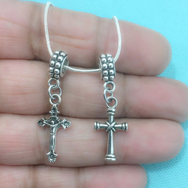 DIVINE PROTECTION : Stunning Cross Charms Fit Beaded Bracelet