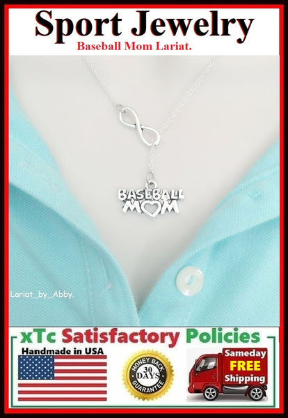 BaseBall Mom & Infinity Handcrafted Necklace Lariat Style