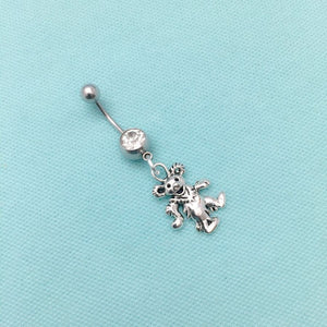 Grateful Dead Dancing Bear Silver Charm Surgical Steel Belly Ring.