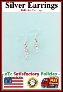 Beautiful BALLERINA Silver Dangle Earrings.