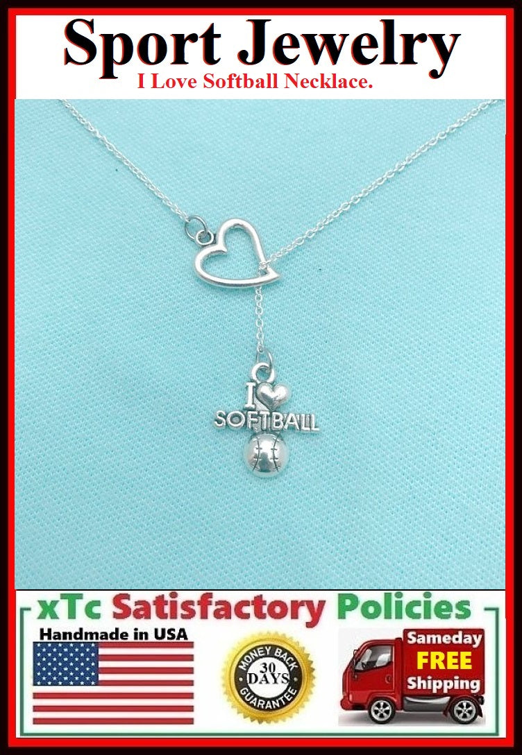 I Love Softball Handcrafted Necklace Lariat Style.