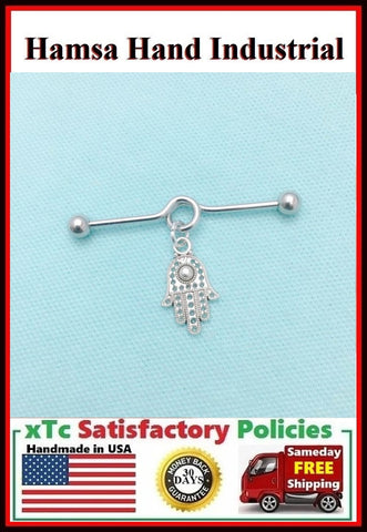 Hamsa Hand Protection Charm Surgical Steel Industrial.