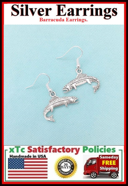 Beautiful BARRACUDA FISH Silver Dangle Earrings.