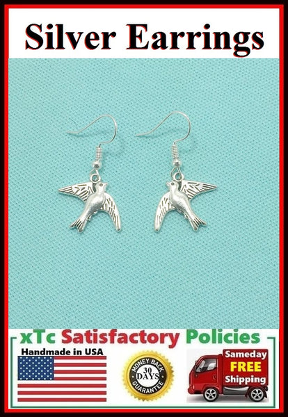 Beautiful Flying Bird Silver Charms Dangle Earrings.
