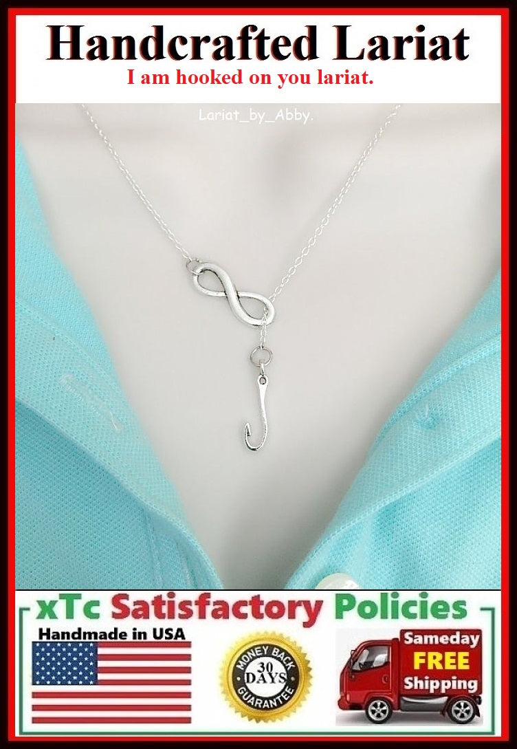 Fishhook Handcrafted Necklace Lariat Style. I'm hooked on you, Lover's Gift.