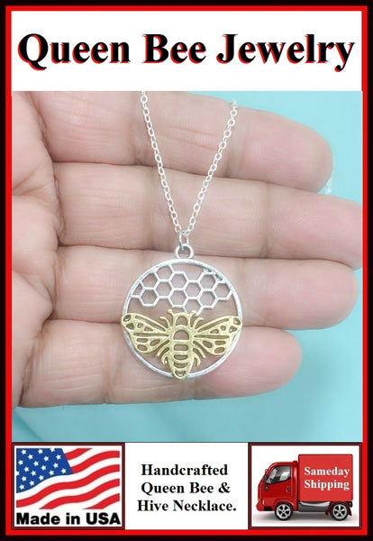 Queen Bee and Bee Hive Handcrafted Necklace.