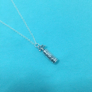 Firefighter Fire Extinguisher Charm Silver Chain Necklace.