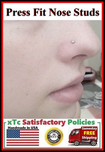 "Sterilized PRESS FIT Clear Gem Custom Size ""L"" Nose Stud."