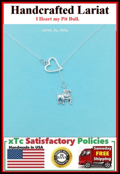 I Heart My Pit bull Dog Handcrafted Necklace Lariat Style.