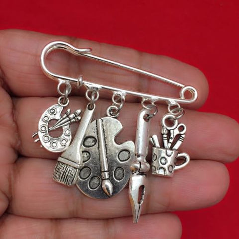 Easy on/off Brooch with 5 Artist related Silver Charms, Artist Writer Gift