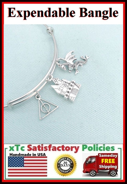 Harry Potter Inspiration Silver Charms Bangle.