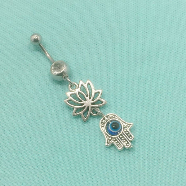Sterilized LOTUS and HAMSA HAND Charms Surgical Steel Belly Ring