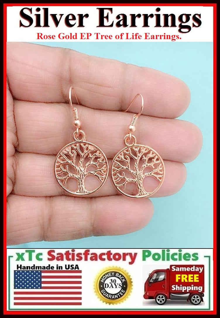 Gorgeous Rose Gold Plated TREE OF LIFE Dangle Earrings.