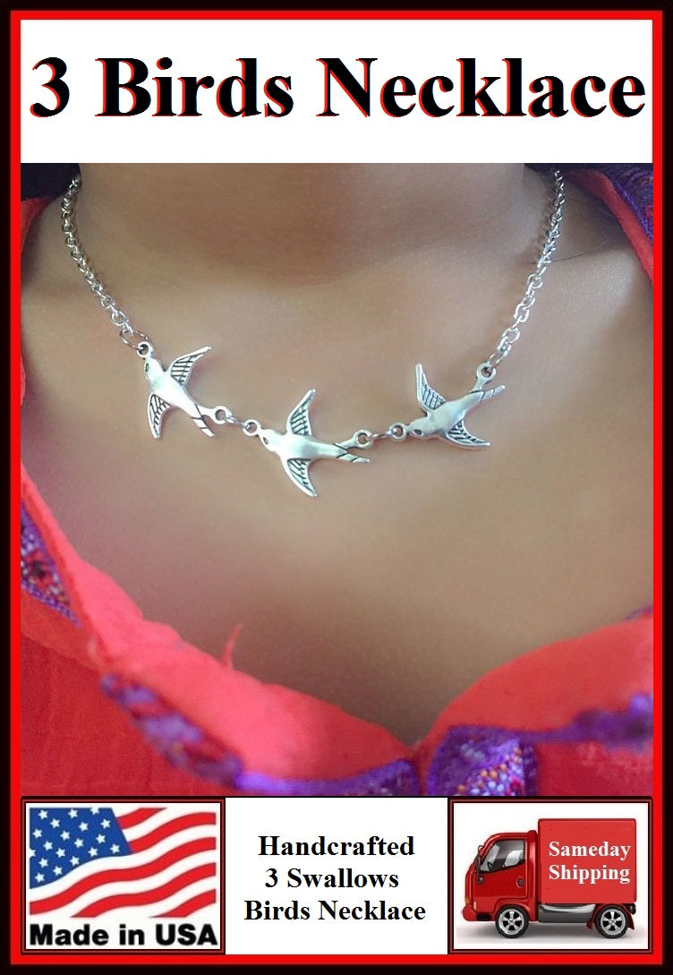 "Stunning 3 Swallow Birds Handcrafted 16"" Necklace."